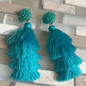 NWOT Turquoise Tiffany Fringe Beaded Drop Studs